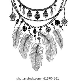 Illustration with a necklace. Beads and feathers. Freehand drawing