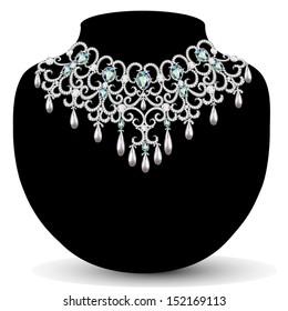 illustration necklace and earrings, wedding  diamond
