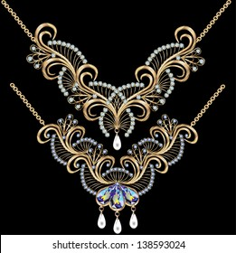 illustration necklace women for marriage with pearls and precious stones on a black background
