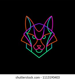 Illustration of the neon Fox from lines on a dark background