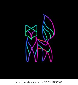 Illustration of a neon Fox on a black background