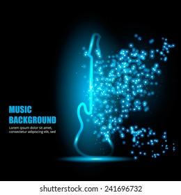 Illustration of neon light guitar.