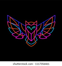 illustration of the neon owl on a dark background