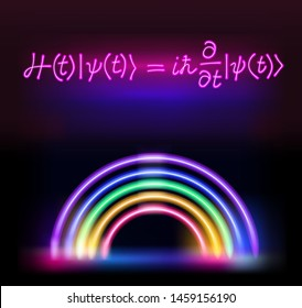 Illustration of Neon Signboard with Erwin Schrodinger (or Schroedinger) Equation, the fundamental quantum mechanics laws, superposition and entanglement.
