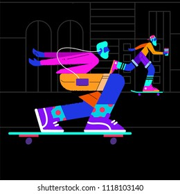Illustration of a neon skater on a dark background
