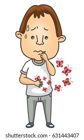 Illustration of a Nervous Man with Butterflies Fluttering from His Stomach