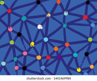 Illustration of Network, Brushstroke Texture, Abstract, Color Dots, Blue Background, Algorithm, Complexity, Deep Learning, Concept, Neural, Computing Theory, AI, Connectivity, Molecular, Deep learning
