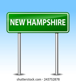 illustration of new hampshire green metal road sign
