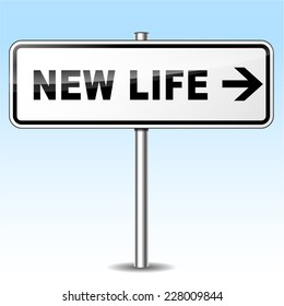 Illustration of new life sign on sky background