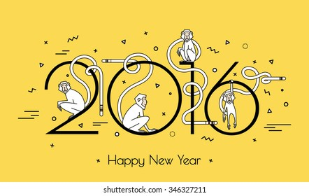 Illustration for the new year 2016 with monkeys. Style simple lines of modern hipster. A vivid illustration for a card or print.
