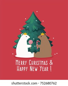Illustration of a New Year's greeting card. Two bears sit under the Christmas tree.