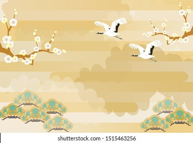 Illustration of New Year's image with crane pine and plum trees and stacked clouds in the background.