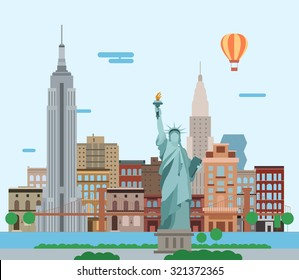Illustration of New York City, vector landscape of buildings and the Statue of Liberty