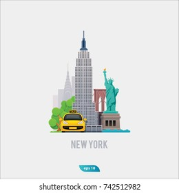 Illustration of New York City, vector landscape of buildings, bridge, city taxi and the Statue of Liberty, flat and modern design