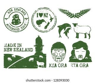 Illustration of New Zealand icons grunge style, vector