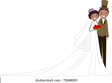Illustration of a Newlywed African American Couple