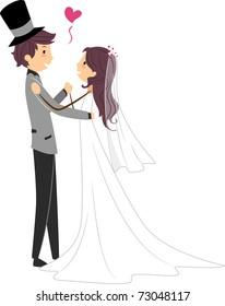Illustration of Newlyweds Dancing Together