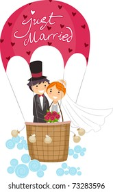Illustration of Newlyweds in a Hot Air Balloon