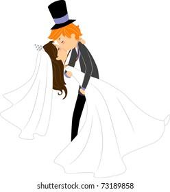 Illustration of Newlyweds Sharing a Kiss