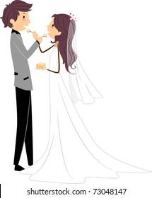 Illustration of Newlyweds Sharing a Slice of Cake