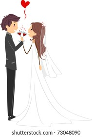 Illustration of Newlyweds Toasting to Their Marriage