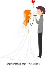 Illustration of Newlyweds Toasting to their Wedding
