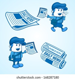 Illustration of a newsboy with a newspaper, ESP W File