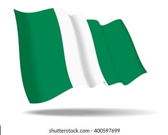 illustration Nigeria flag waving Isolated on White Background,vector