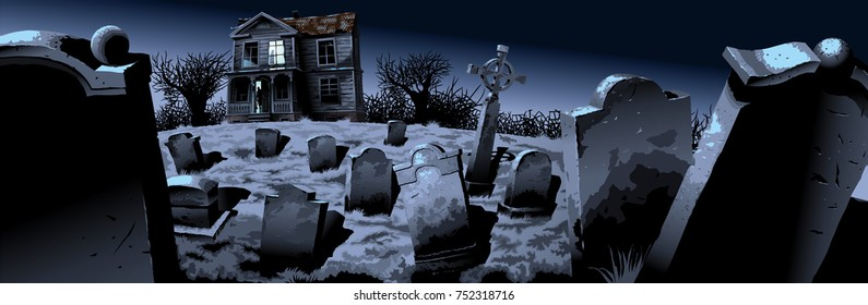 Illustration of a night cemetery