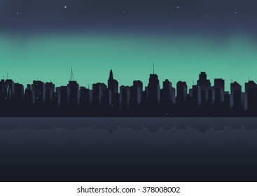 Illustration, night city on a background an ocean.