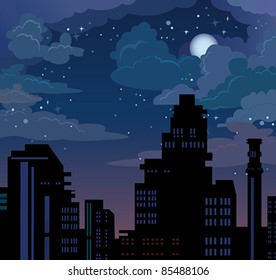 Illustration with night city on blue sky with stars and moon