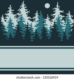 Illustration of a night of coniferous forest with a place for your text. Vector Illustration.
