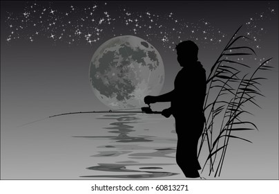 illustration with night fisherman silhouettes