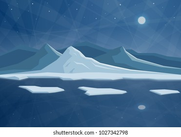 Illustration with night northern landscape. Flat abstract mountains and ice floe on the water.