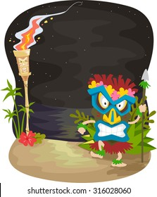 Illustration of a Night Scene with a Man Wearing a Tiki Mask Standing Near a Tiki Torch