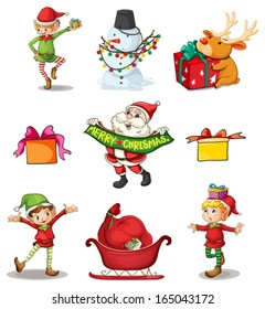 Illustration of the nine different Christmas decors on a white background