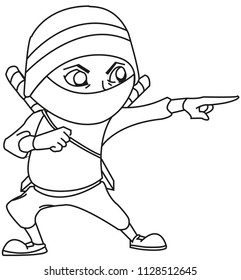 Illustration of ninja warrior with a menacing look and pointed finger in attack position. Cartoon style
