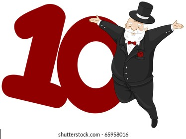 Illustration of a Nobleman Leaping Beside a Number Ten