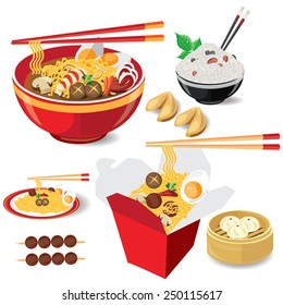 illustration noodle on white,food china vector
