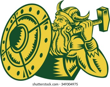 Illustration of a norseman viking warrior raider barbarian wearing horned helmet with beard holding hammer and shield viewed from side set on isolated white background done in retro woodcut style.