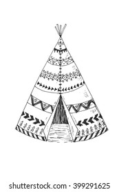 Illustration of the North American Indian tipi home with tribal ornament hand drawn with ink. Front view. Authentic tepee wigwam perfect for card making or wedding invitation.