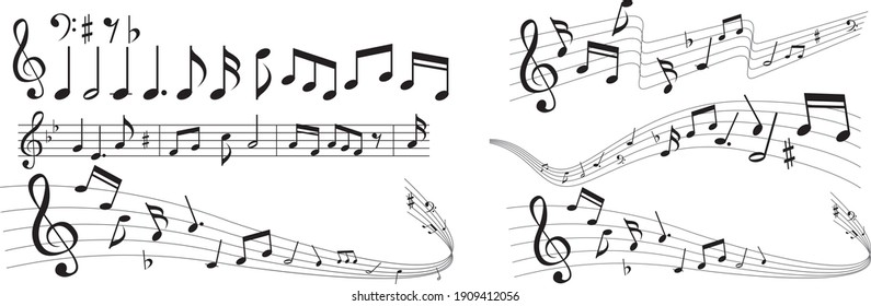 illustration of note music icon