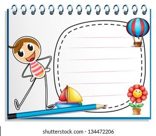 Illustration of a notebook with a drawing of a person exercising beside an empty space on a white background