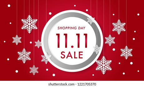 illustration of November 11 sale festival, Winter sale background