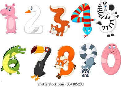 Illustration of number with a concept africa animals
