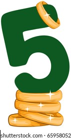 Illustration of a Number Five Sitting on Golden Rings