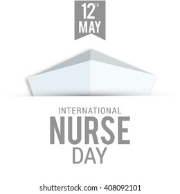 illustration of Nurse Day with nurse cap on white background.