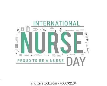illustration of Nurse Day on white background.