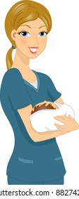 Illustration of a Nurse Holding a Baby