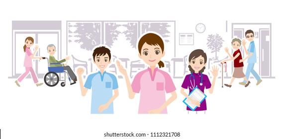 Illustration of nursing home and care worker
